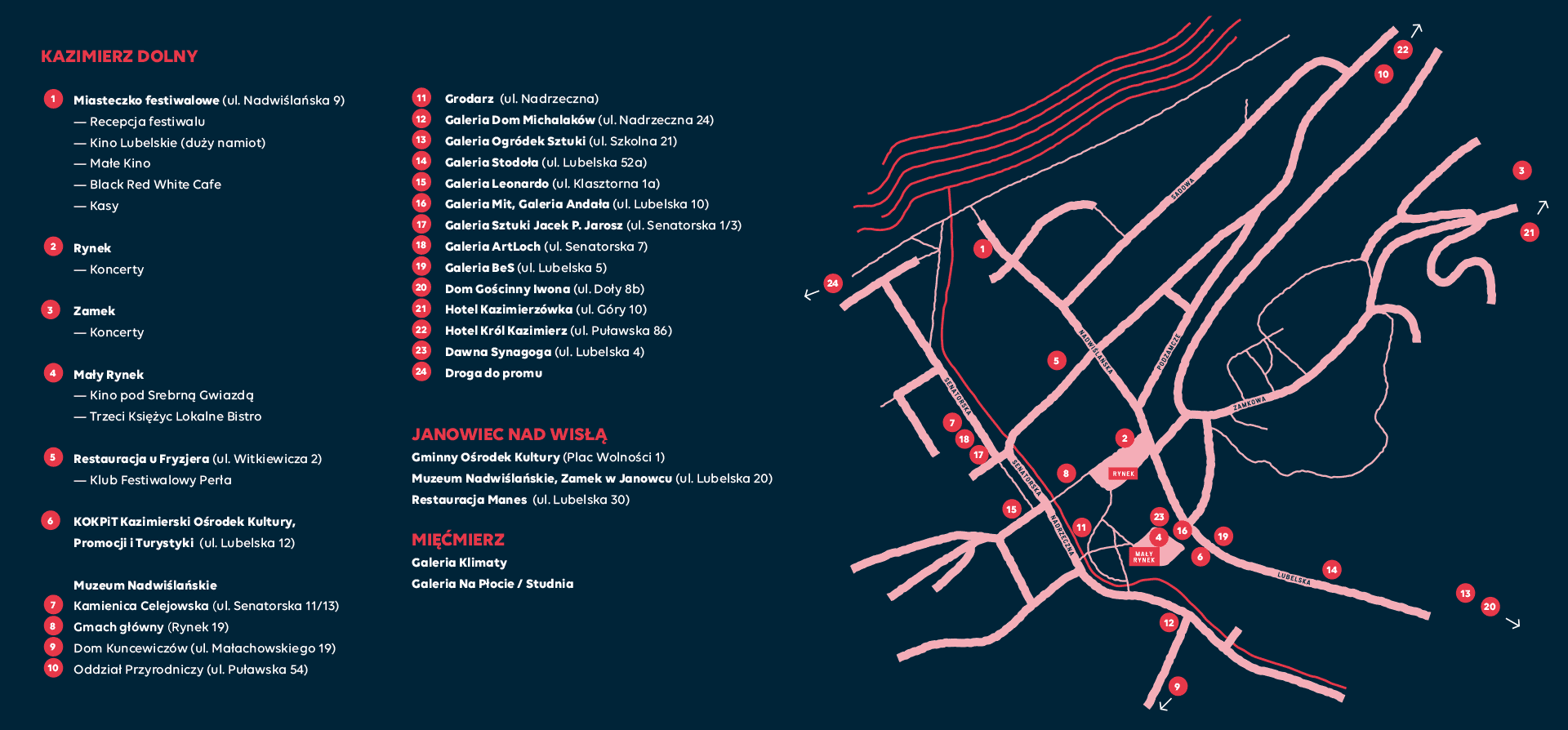 VENUES OF THE FESTIVAL
